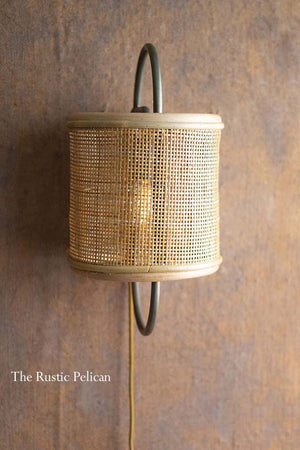 FREE SHIPPING -Rattan Wall Sconce