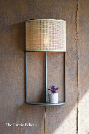Modern Boho Wall Sconce Light with a Rattan shade