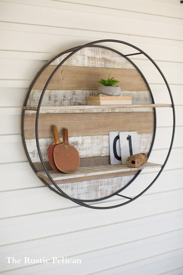 Wood and Metal Modern Farmhouse Wall Decor with Shelves