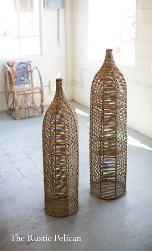 FREE SHIPPING - Modern Wicker Floor Vase with Iron - Set of two (2)