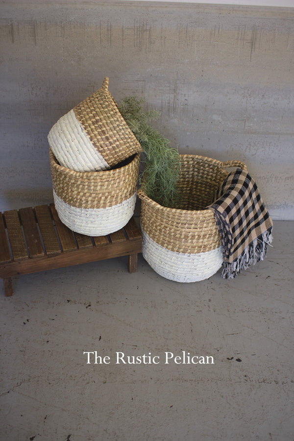 Rustic Farmhouse hampers hand woven white and natural