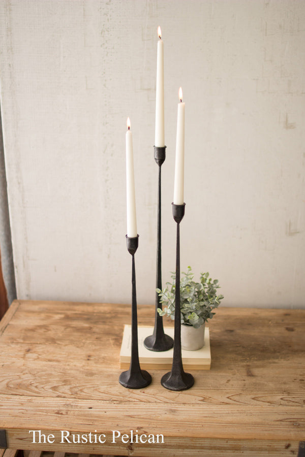 Candle Holders , tall cast iron tapered candle holders