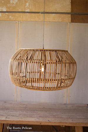 Large modern chandelier- modern farmhouse bamboo pendant light.