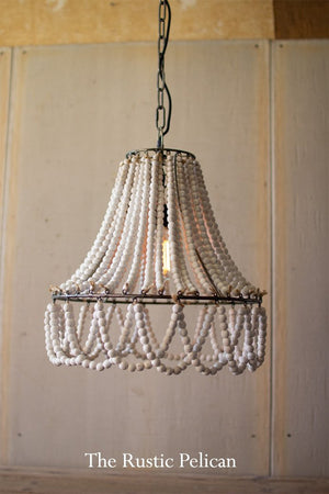 FREE SHIPPING - Modern Farmhouse Wooden Beaded Chandelier