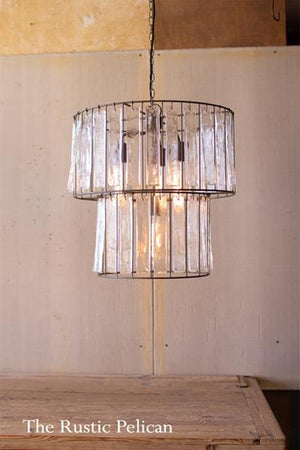 FREE SHIPPING ~Large Glass Chandelier-Modern-Farmhouse-Rustic-Lighting