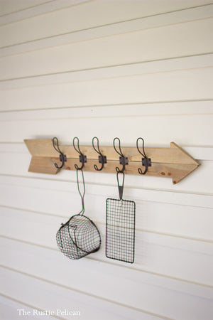 Wooden Arrow - Reclaimed Wood-Coat-Rack-Metal-Vintage-Hooks