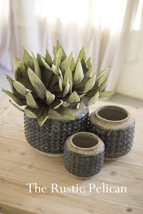 Modern hobnail rustic ceramic planters. Rustic Farmhouse Planters