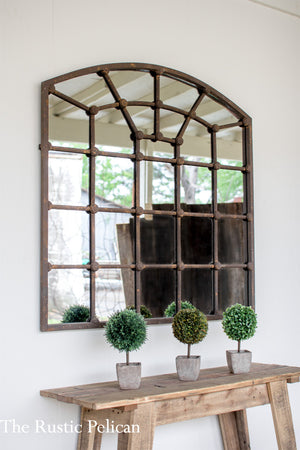 Large Arched Iron Mirror Wall Decor