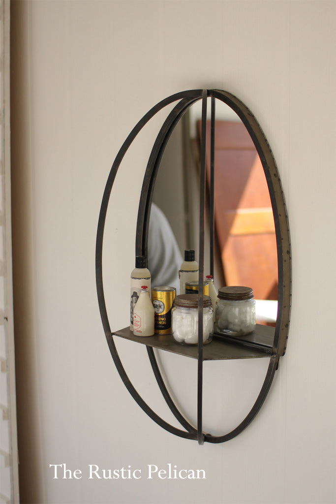 FREE SHIPPING Oval Mirror With Wall Shelf