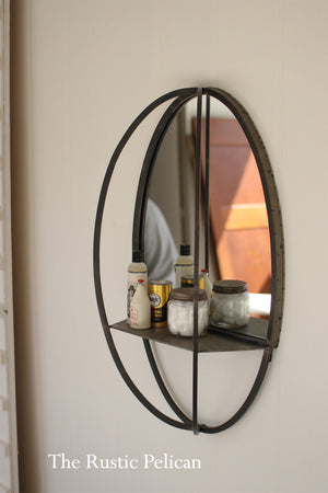 FREE SHIPPING -Oval Mirror with Wall Shelf