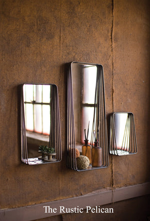 Mirror, Modern Home Decor, Mirror with Shelves, set of three
