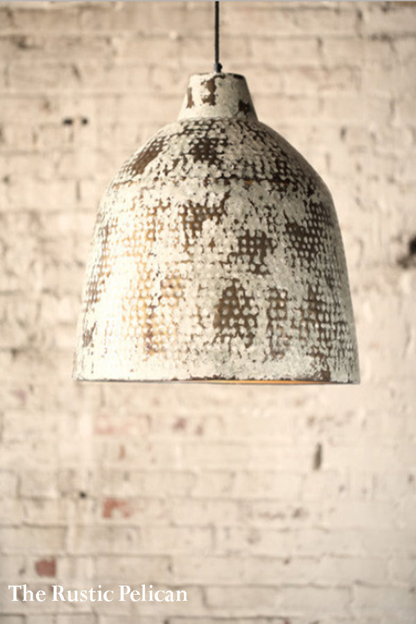 Modern Farmhouse white metal rustic Pendant Light