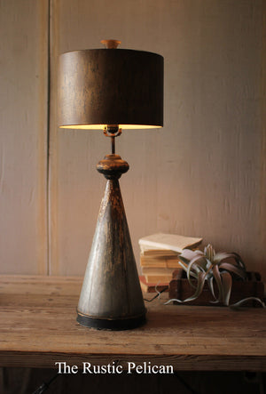 Lamp - Rustic Table Lamp with metal base and shade