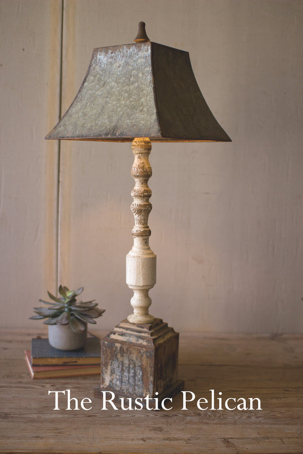 Industrial lighting Rustic Lighting turned banister table lamp