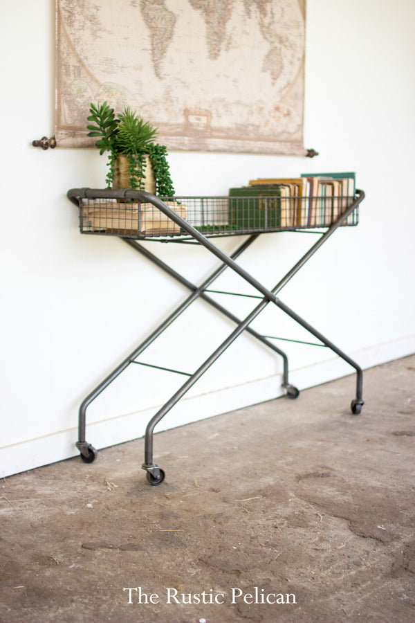 Modern IndModern Farmhouse Industrial Console/Rolling Cart