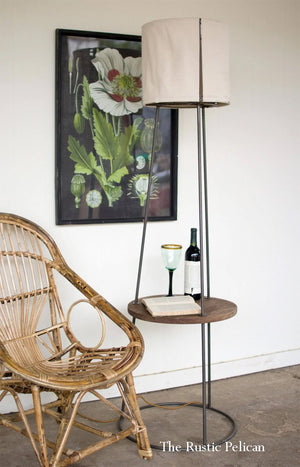 modern Floor Lamp with Canvas Shade and wooden side table