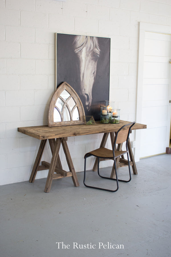Reclaimed wood desk farmhouse table wooden console