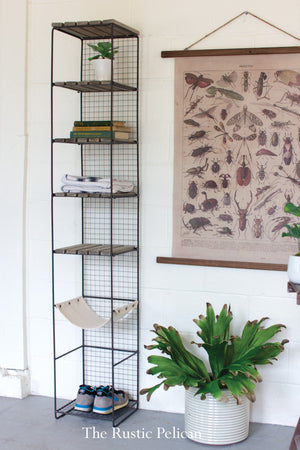 Industrial shelving metal tower modern farmhouse style