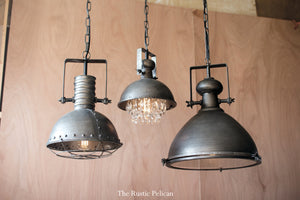 Large modern industrial rustic metal pendant light