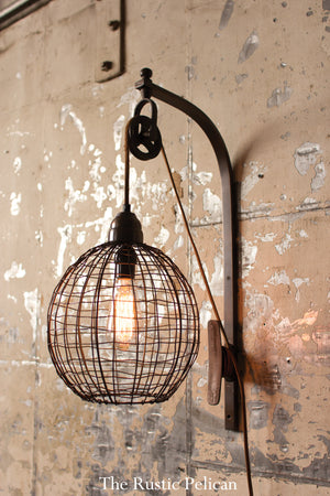 Modern Rustic farmhouse metal mesh wall sconce with pully