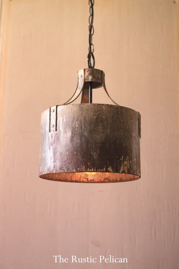 Rustic farmhouse metal chandelier pendant light