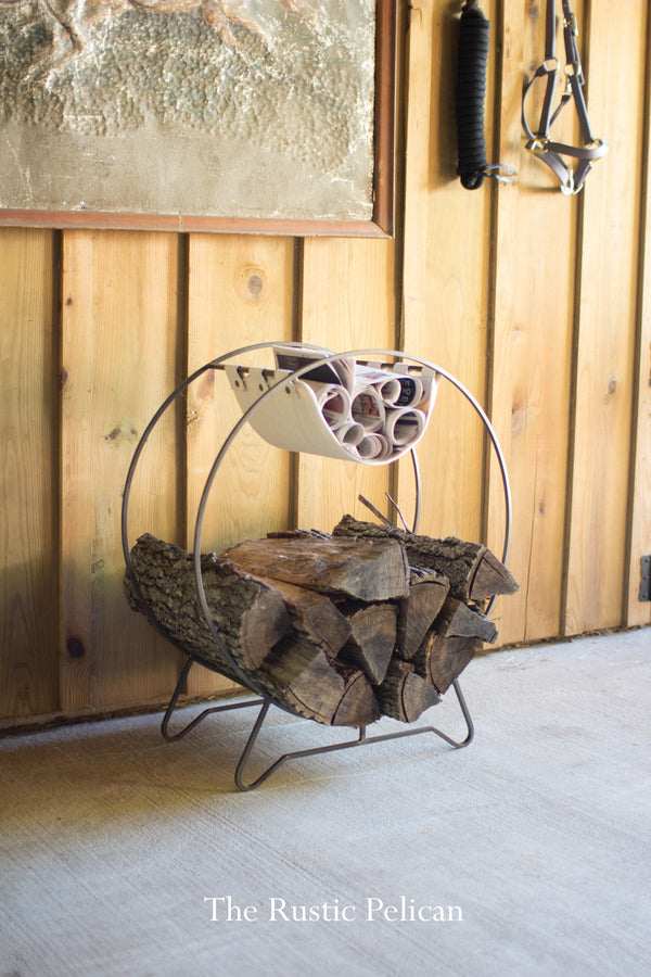 Firewood rack modern fireplace log rack to hold logs and kindling
