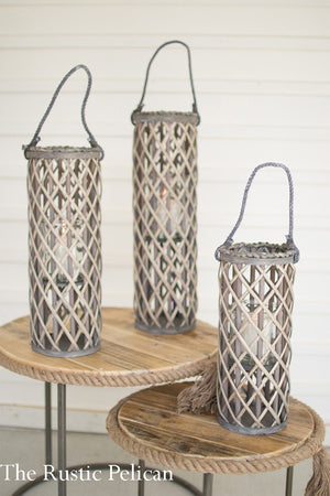 Coastal Farmhouse Lanterns, Modern Farmhouse - Glass and Rattan Candle Holders