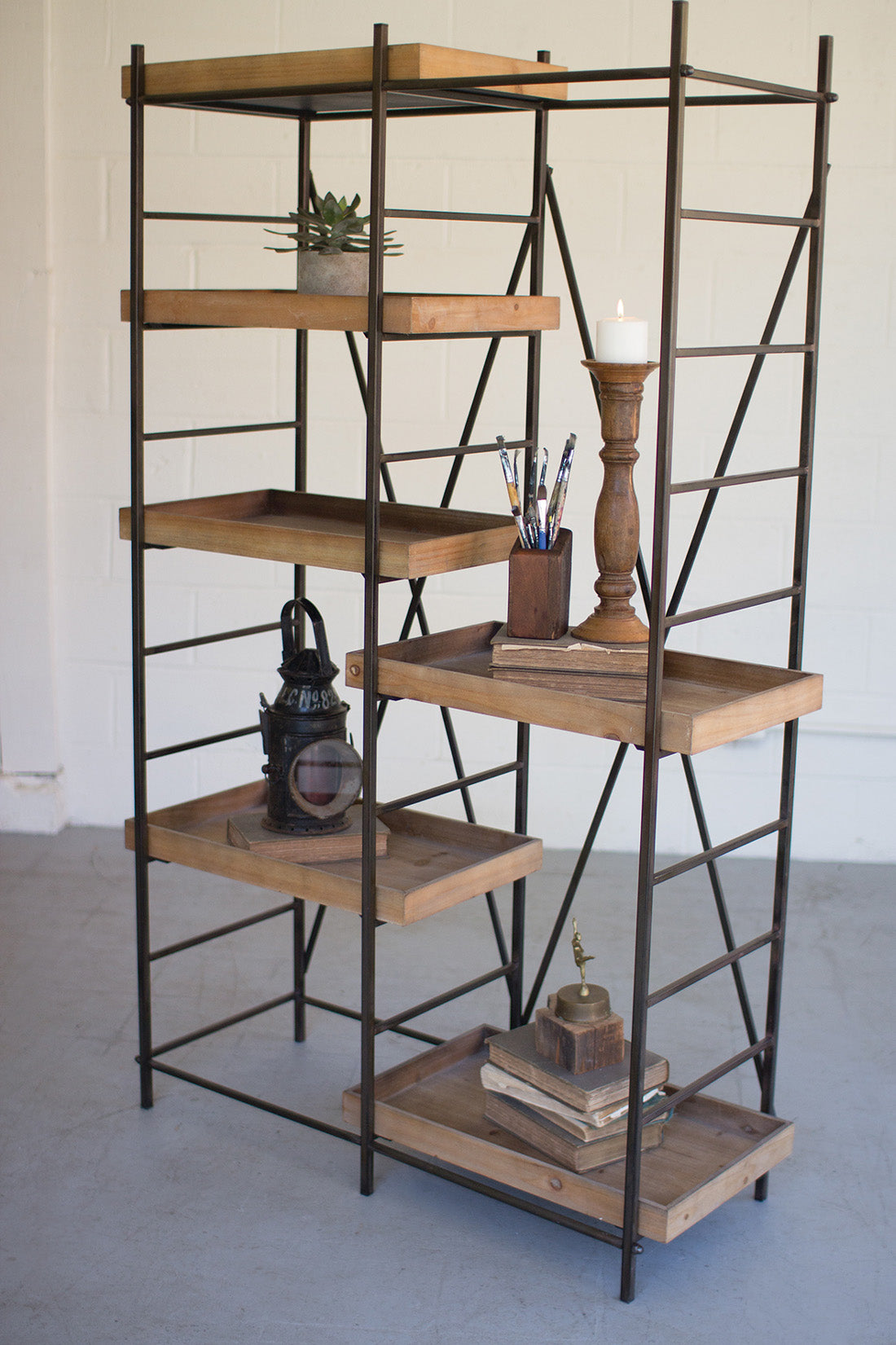 Merveilleux Modern Industrial Rustic Metal And Wood Shelving Unit, Six Adjustable Wooden  Shelves ...