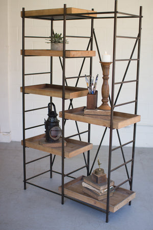 Modern Industrial Wood and  Metal shelving unit, six adjustable wooden shelves