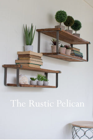 Rustic reclaimed wood and metal floating shelves