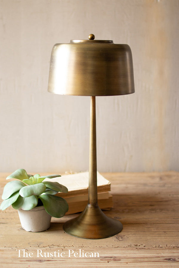 Modern farmhouse tall brass table lamp with a brass metal shade