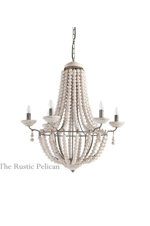 Modern Rustic chandelier with wood beads free shipping