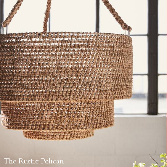 Chandelier-Modern-Farmhouse-Bohemian Hand Woven Light