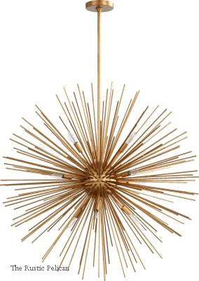 Large Modern Entryway Sphere Chandelier 10 Lights Gold Leaf