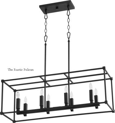 FREE SHIPPING - Large Modern Farmhouse Chandelier Rectangular 8 Light-Black Onyx