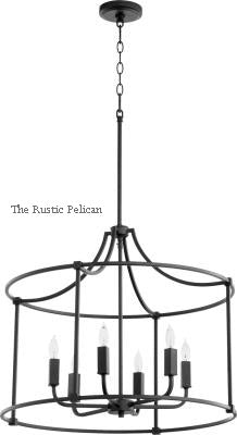 Large Modern Drum Style Farmhouse Chandelier 6 Lights Black