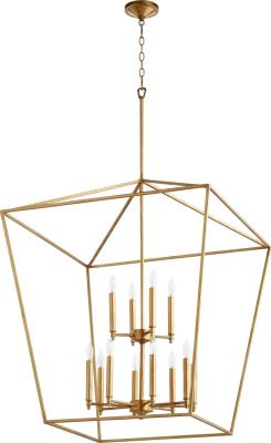 FREE SHIPPING - Large Entryway Chandelier 12 Light Gold Leaf