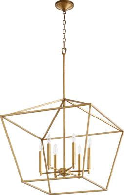 Large Modern Farmhouse Chandelier 6 Light Gold Leaf