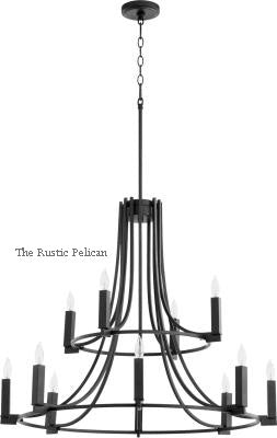 Large Modern Farmhouse Chandelier 12 Light Black