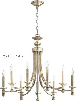 FREE SHIPPING - Large Modern Farmhouse Chandelier 9 Light Antique Silver Leaf