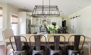 FREE SHIPPING - Large Modern Farmhouse Chandelier 6 Light Black Onyx