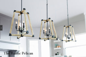 FREE SHIPPING - Large Modern Farmhouse Driftwood Chandelier 12 Light-Black
