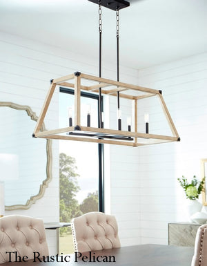 FREE SHIPPING - Large Modern Farmhouse Driftwood Chandelier 6 Light-Black