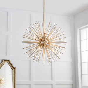 FREE SHIPPING - Large Modern Entryway Sphere Chandelier 10 Lights Gold Leaf