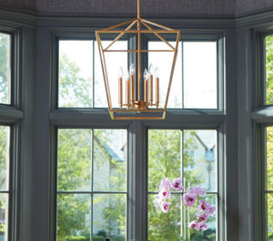 FREE SHIPPING - Large Modern Farmhouse Chandelier 6 Light Gold Leaf