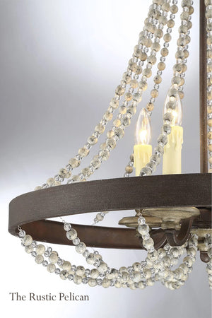 Modern farmhouse 4 Light Fossil Stone Beaded Chandelier