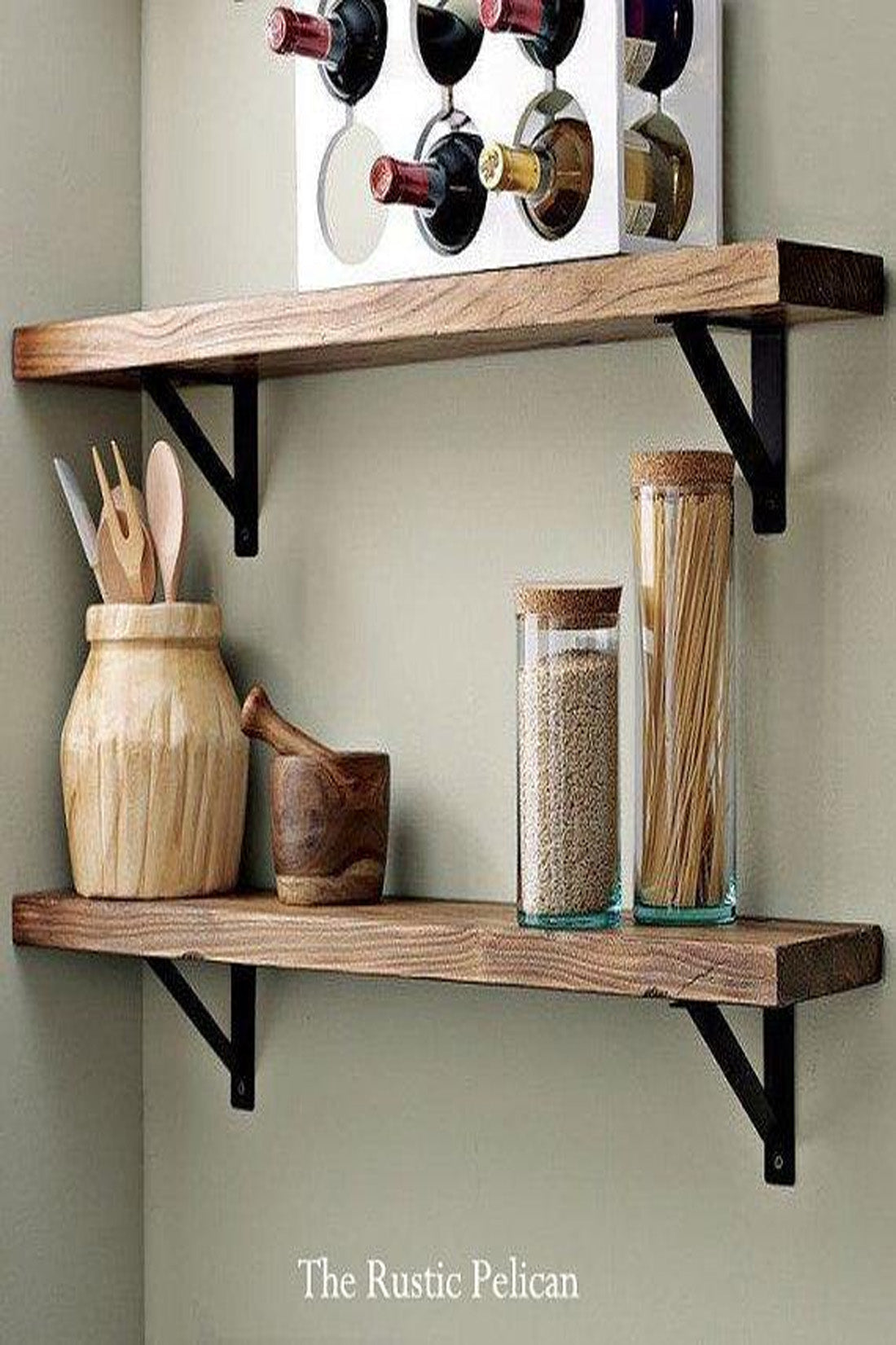 Picture of: Rustic Farmhouse Kitchen Wood Shelf The Rustic Pelican