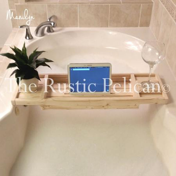 iPad Tray, Reclaimed Wood bath tray