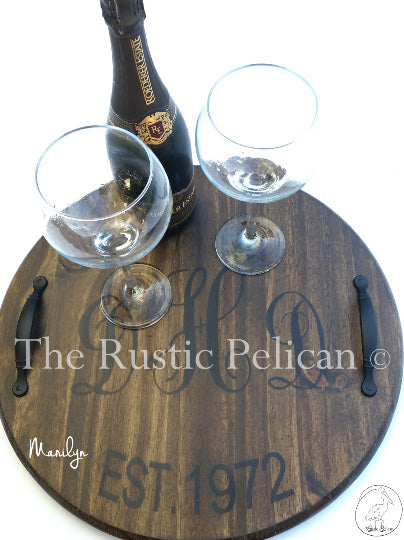 Rustic Wine Barrel Lazy Susan Personalized Wooden Wine Barrel