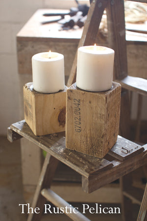andle holders, wooden candlestick, rustic farmhouse votive candles